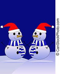 snowmans - two snowmans. Christmas background.