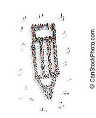 pessoas, em, a, FORMA, de, Um, pencil.,