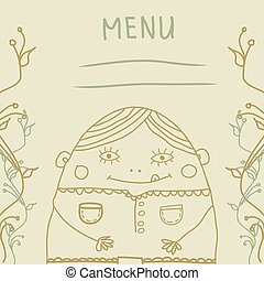 fanny man menu - Menu with a funny little man