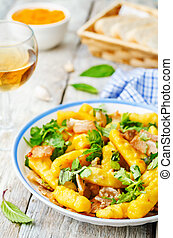 potatoes pumpkin gnocchi with bacon, cilantro and mint. the...