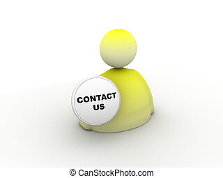 contact us - rendered illustration of contact us icon over...