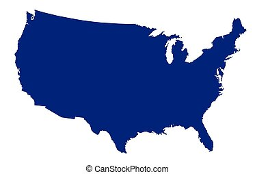 USA Map Silhouette - An outline silhouette map of The United...