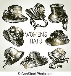 Hand drawn elegant vintage ladies set. Sketch women hats