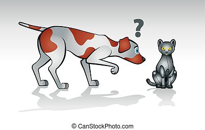 Robot cat with curious dog - Illustration of curios real dog...