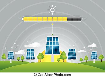 Solar panels energy charging - Illustration of solar panels...