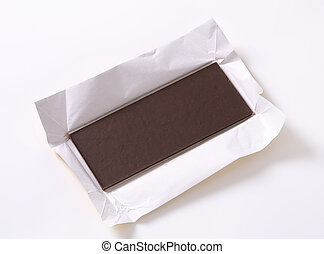 Dark chocolate - Couverture chocolate bar on paper