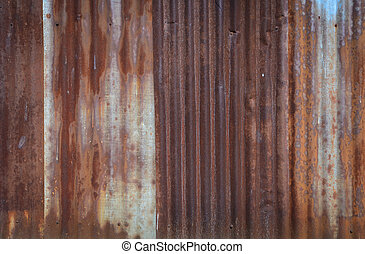 Rusty corrugated metal wall background
