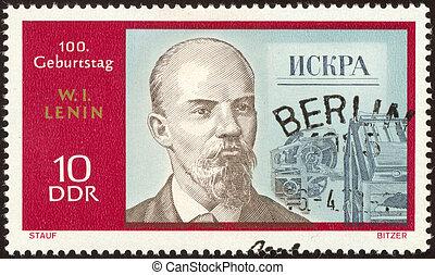 retro postage stamp sixty six - Vladimir Ilyich Lenin was a...