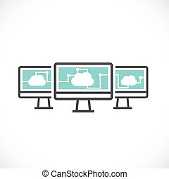 computer and cloud computing networking icon concept, vector...
