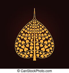 golden Bodhi leaf symbol in Thai art style isolate on black background, vector illustration