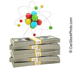 Atom structure on stack of money on isolated white...