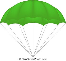 Parachute in green design on white background