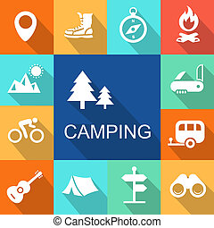 Camping icons Travel and Tourism concept. Illustration. -...