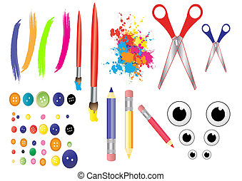 craft tools - button, clip, cotton, craft, crochet, cushion,...