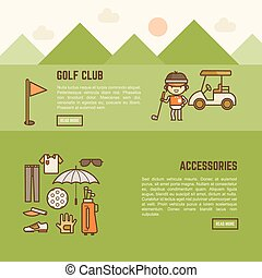 golf player and accessories banner