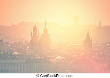 Prague Cityscape on Misty Morning, Retro Toned - Beautiful...