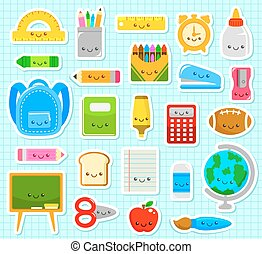 cartoon school suplies - collection of cute cartoon school...