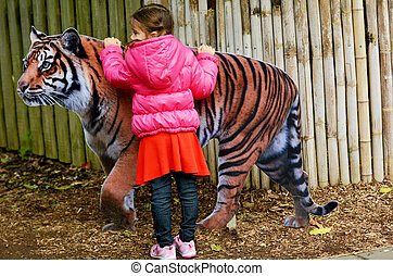 tiger,  sumatran, kevés,  petting, leány
