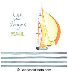 strips2 - Watercolor boat with sails made in the vector....