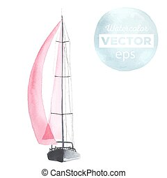 Watercolor boat with sails made in the vector. Sport yacht,...