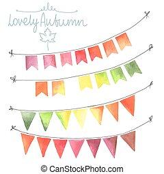 Watercolor flags garlands set. Autumn decor. Garlands made...