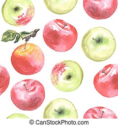 lovely autunm apple set 1 - Watercolor apples pattern. All...