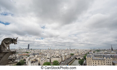 Paris skyline with gargoyle, Eiffel Tower, Paris, Time Lapse...