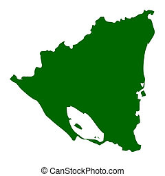 Nicaragua - Map of Nicaragua, isolated on white background.