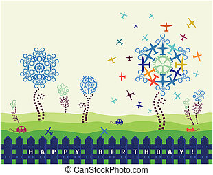 Birthday Card With Planes And Cogs - Happy birthday card for...