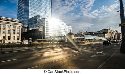 time lapse of road and buildings in Warsaw - time lapse of...