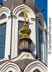 Church roof - Domes of orthodox church against the blue sky...
