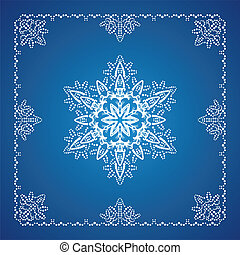 Single detailed snowflake with Christmas border 1 - Single...