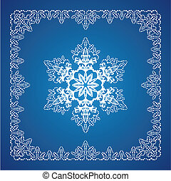 Single detailed snowflake with Christmas border 2 - Single...