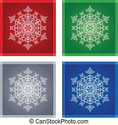 Four snowflakes in frames