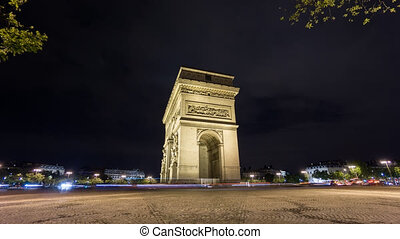 4K Time Lapse of Arc de Triomphe at night, Paris - Wide...