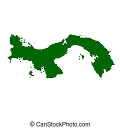 Panama - Map of Panama, isolated on white background.