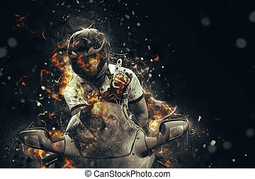Ghost rider Biker with motorcycle and burning fire