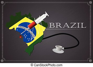 Map of Brazil with Stethoscope and syringe