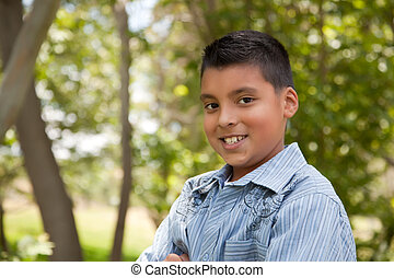 Handsome Young Hispanic Boy in the Park - Handsome Young...