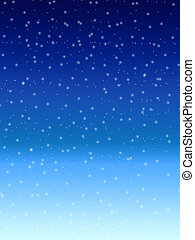 Falling snow over night blue winter sky background -...