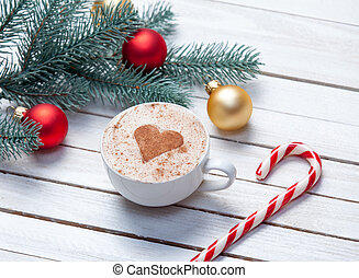 Cup of coffee and christmas gifts - Cup of coffee with heart...