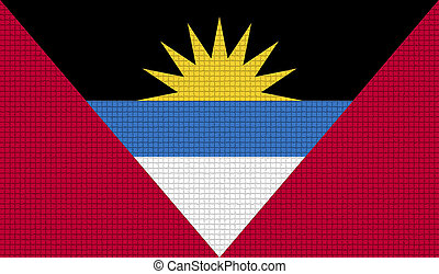 Flags of Antigua and Barbuda with abstract textures. Rasterized