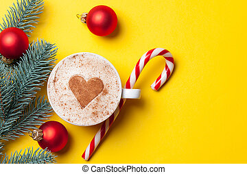 Cup of coffee and christmas candy - Cup of coffee with heart...