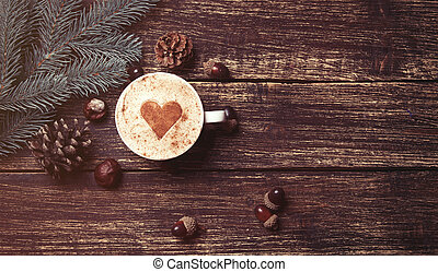 cup of coffee and brench - Cup of coffee with heart shape...
