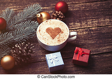Cup of coffee and christmas gifts - Cup of coffee and...