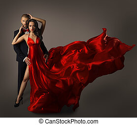 Fashion Couple Portrait, Woman Red Dress, Man Suit, Long...