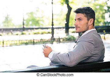 商人, 長凳, 電腦, 片劑, 坐