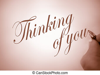 callligraphy thinking of you - person writing thinking of...