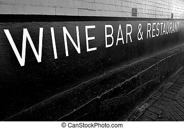 Wine bar and restaurant sign