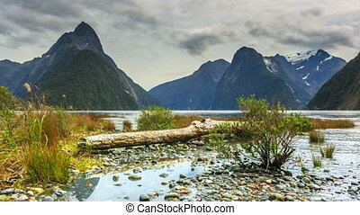Milford sound New Zealand fiordland Timelapse